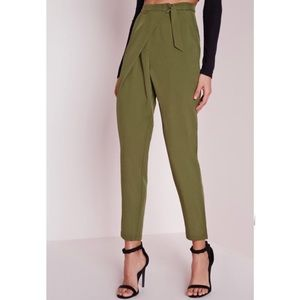 MISSGUIDED green wrap detail tailored trousers